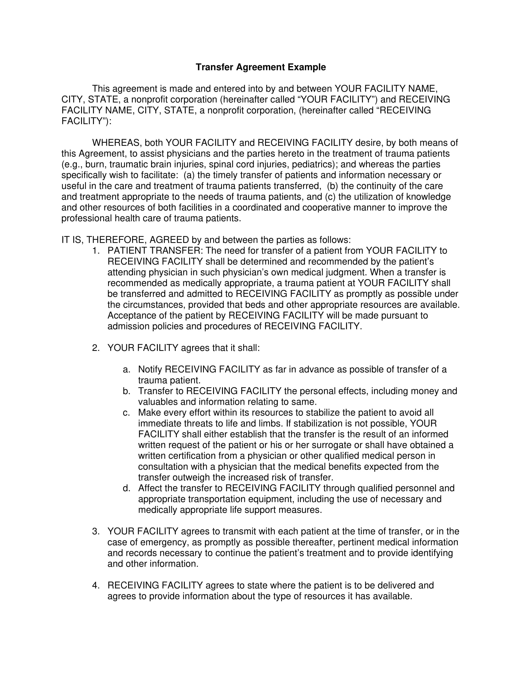 facility transfer agreement example 1