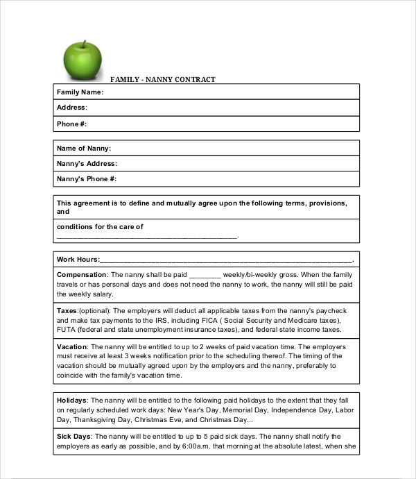 family nanny contract