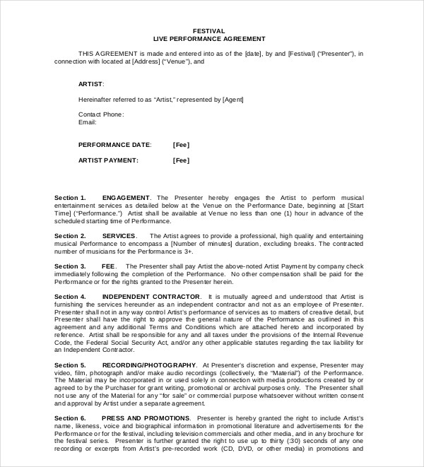 9 Performance Agreement Example And Samples Pdf Doc Examples
