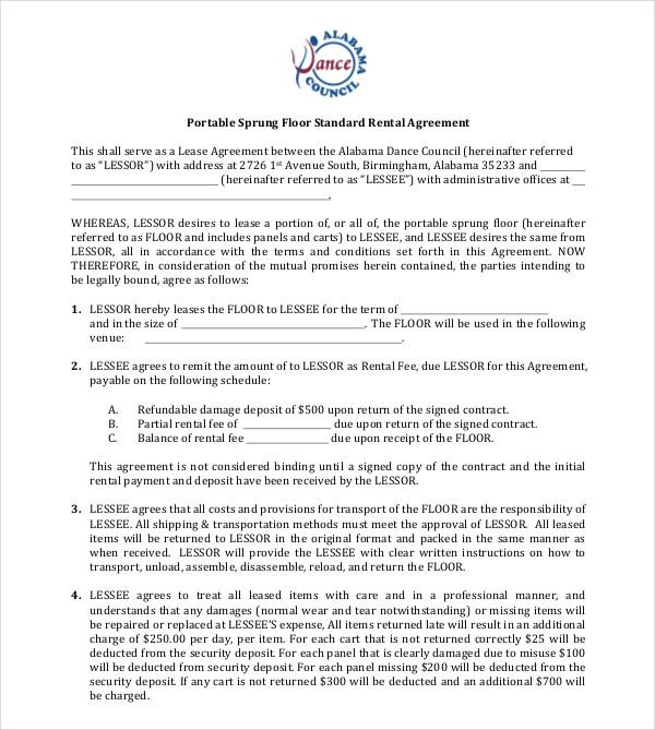 floor standard rental agreement