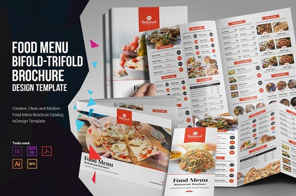 food menu bi fold and tri fold brochure