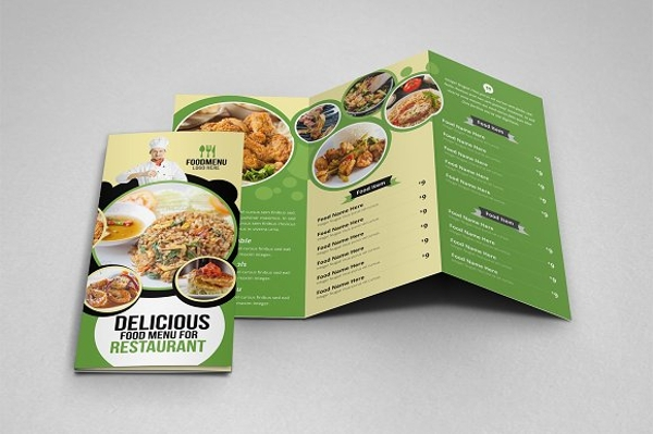 food menu tri fold and bi fold brochure