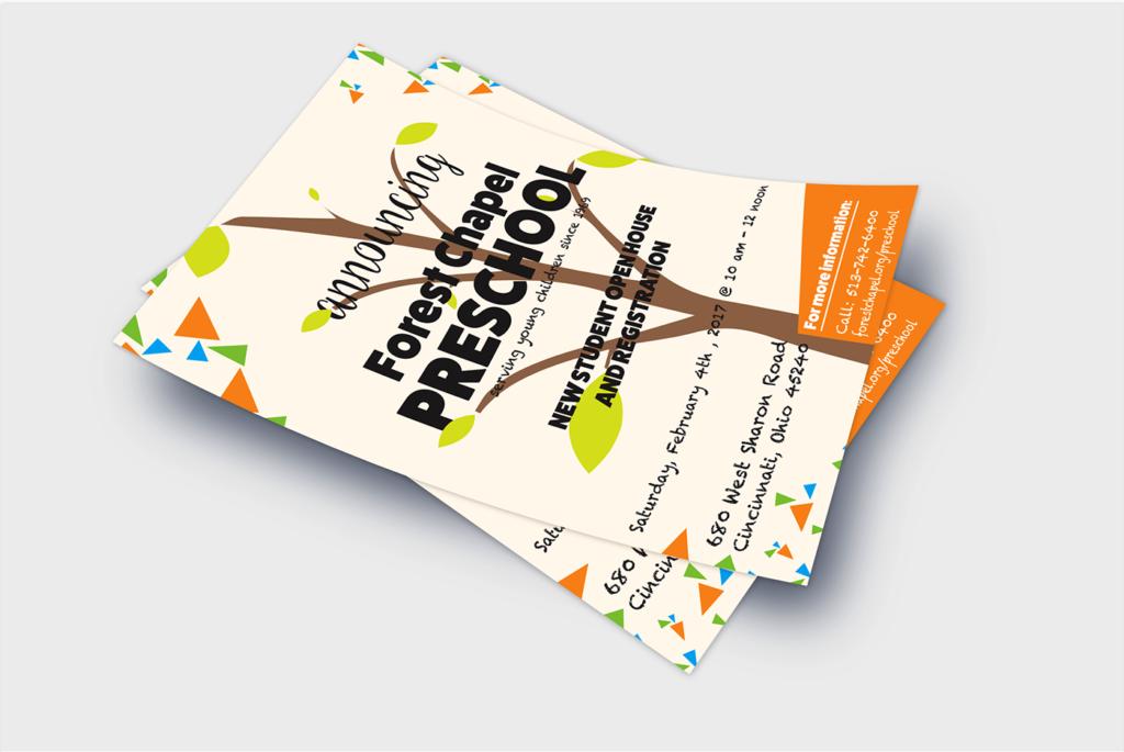 forest chapel preschool enrollment flyer