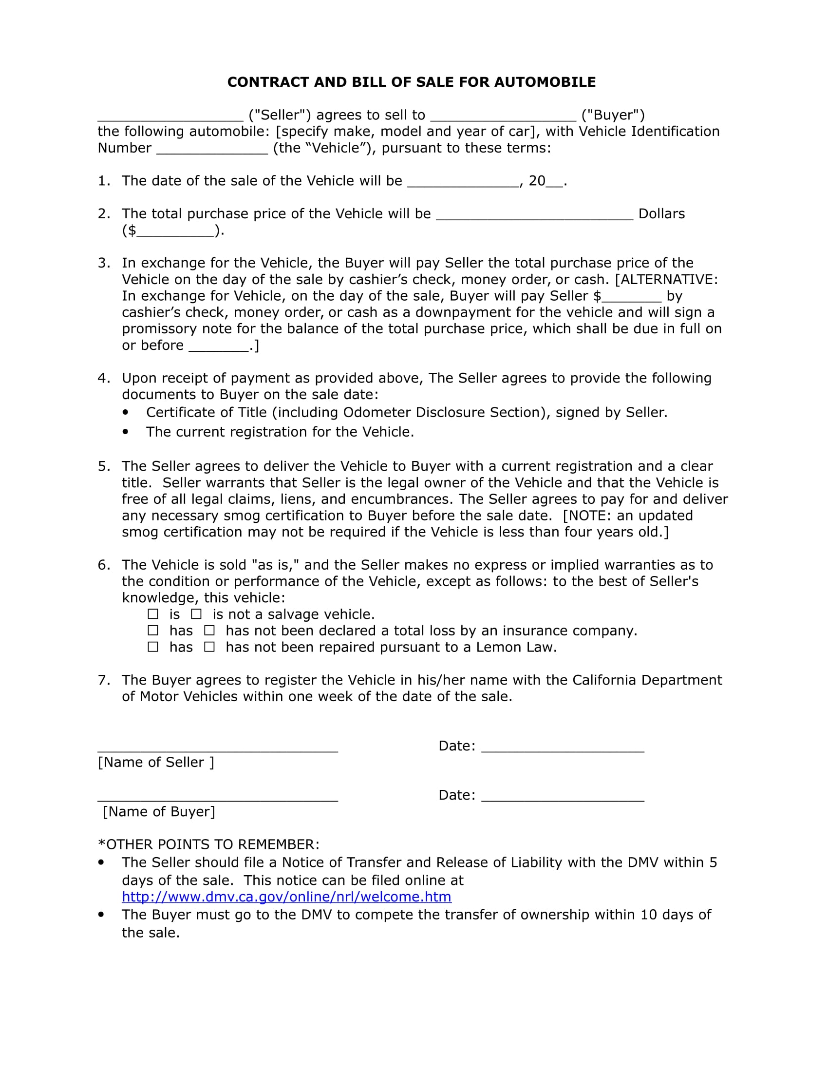 form auto bill of sale 1