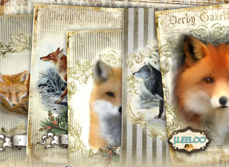 fox and wolf greeting cards