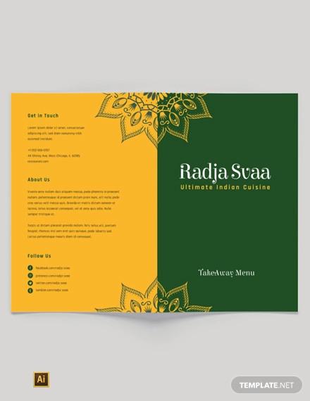 free indian restaurant take out bi fold brochure template