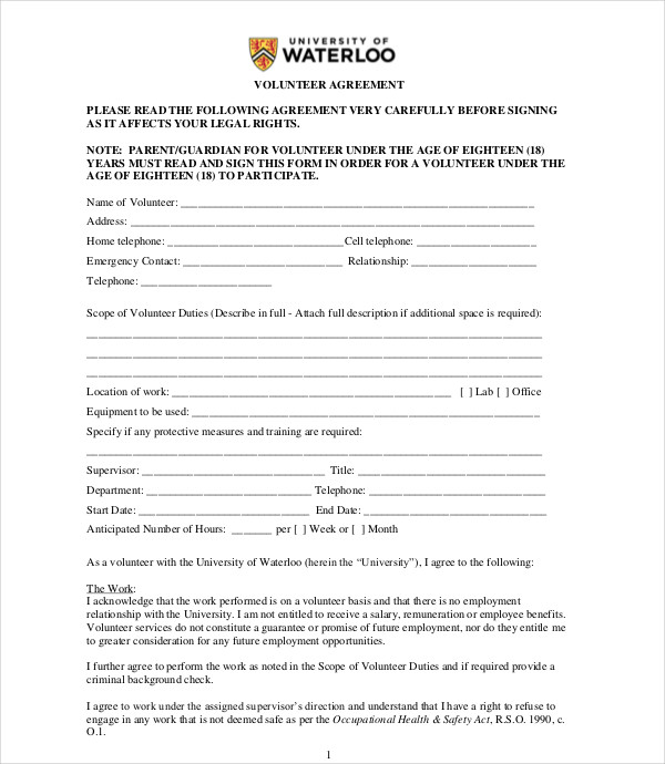 general volunteer agreement