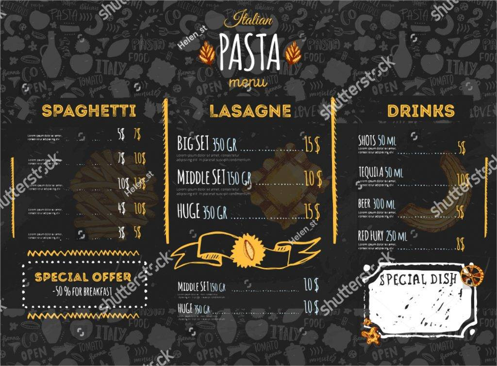 gold and black italian pasta menu