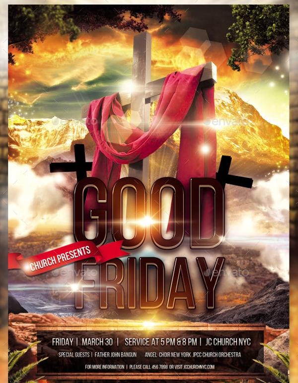 good friday church flyer simple design