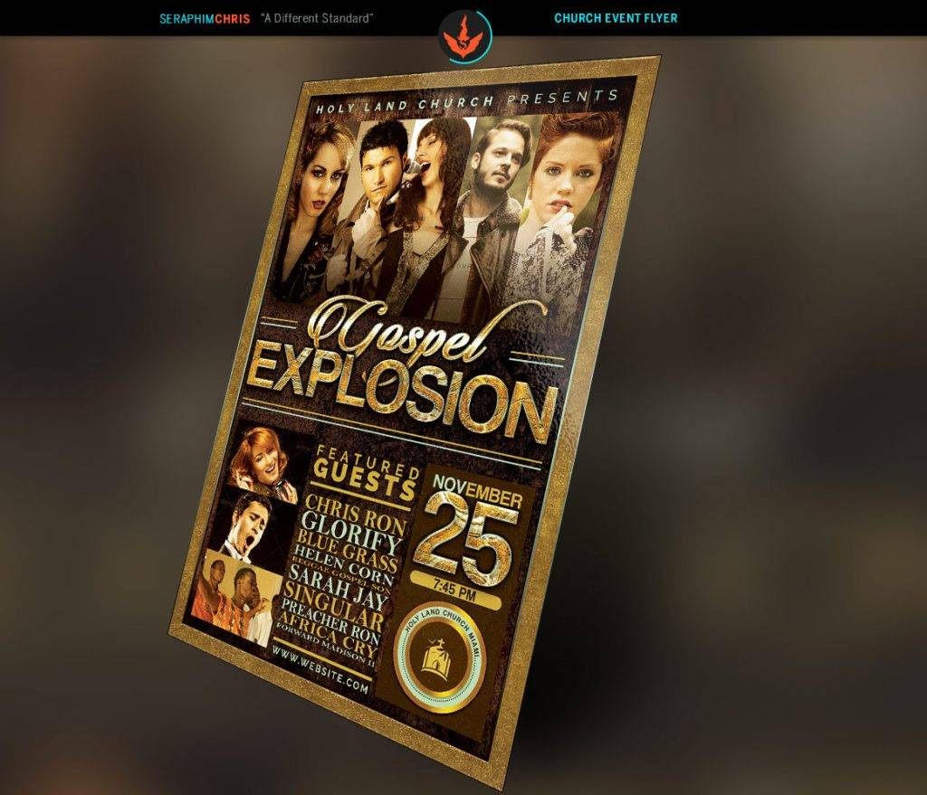 gospel explosion church flyer photoshop template
