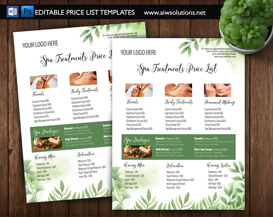green spa price list or menu