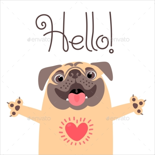 greeting card with pug saying hello