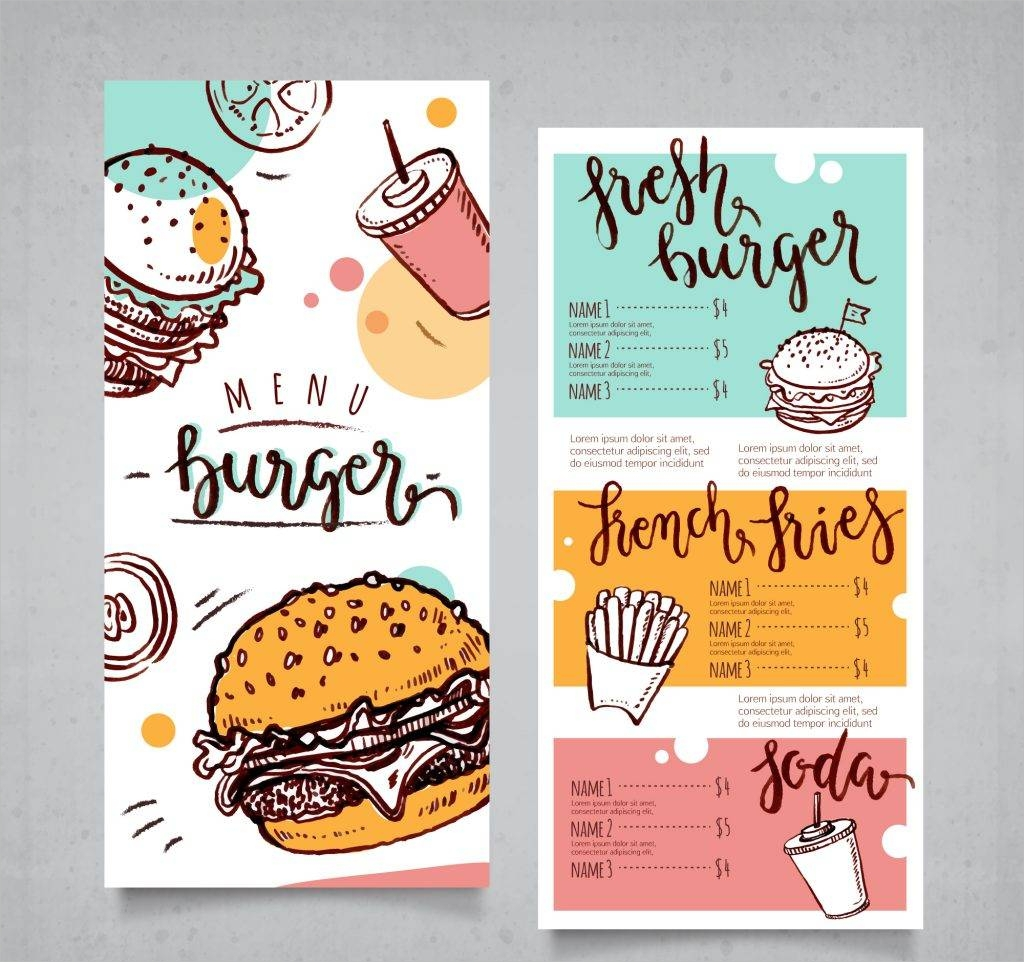 hand drawn hamburger menu free vector