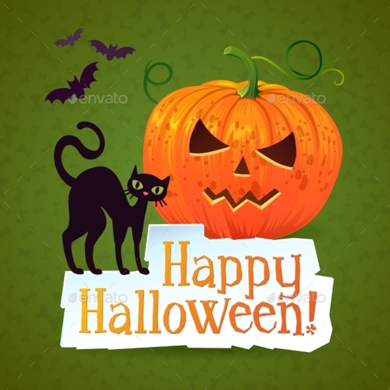 happy halloween pumpkin greeting card with a black cat