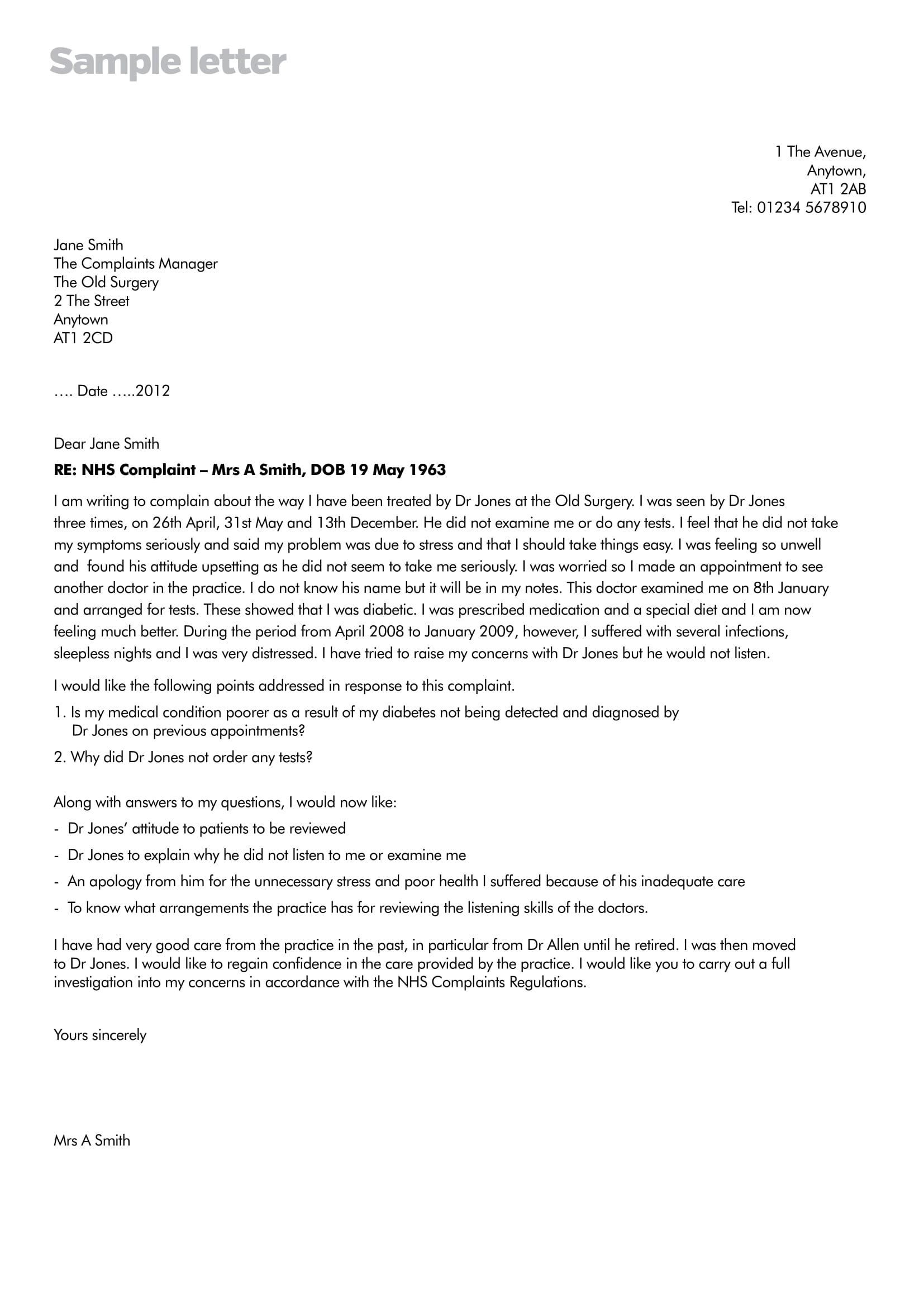19 complaint letter examples pdf complaint letter example spiritdancerdesigns Image collections