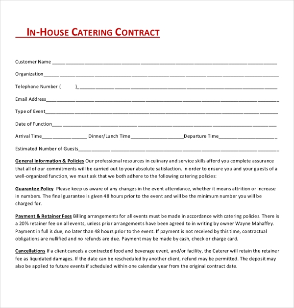 inhouse catering contract