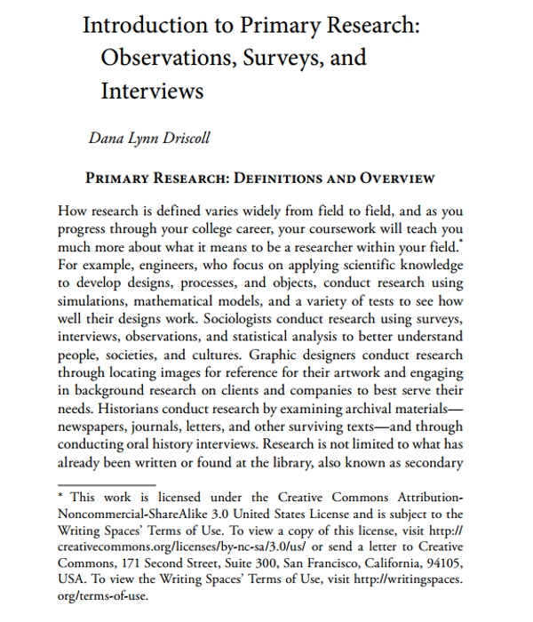 introduction to primary research survey