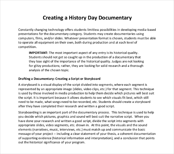 introduction to the history day documentary example