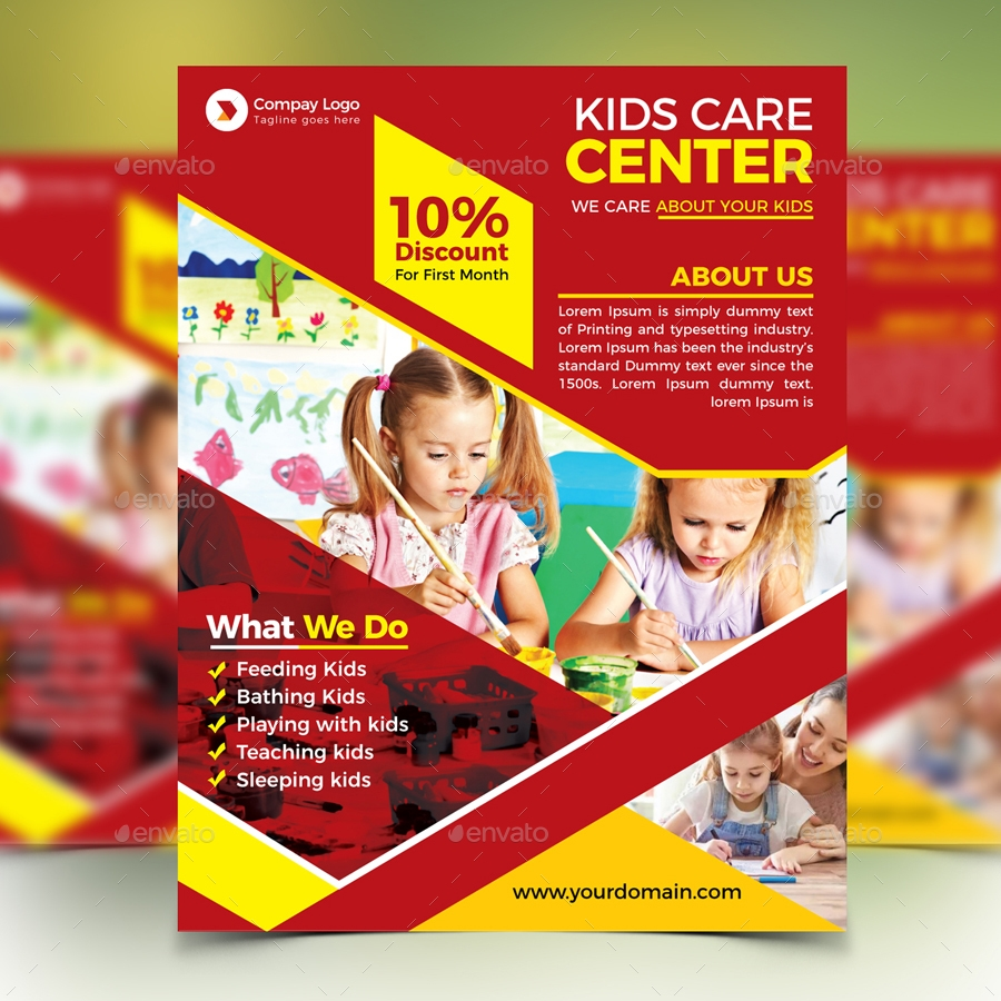 kids care service flyer example