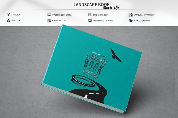 landscape book mockup cover design