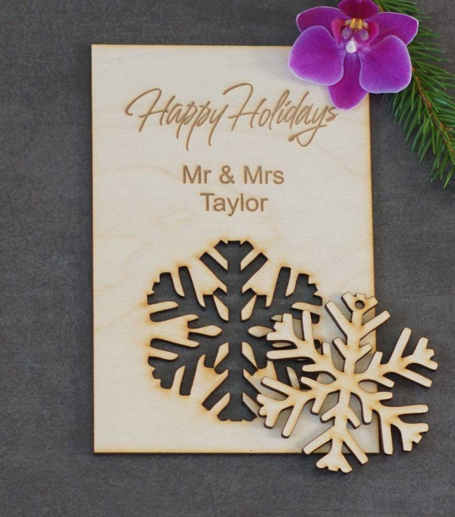 laser cut wood greeting card with snowflake