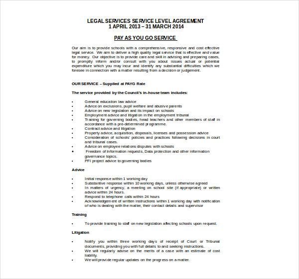 legal service level agreement