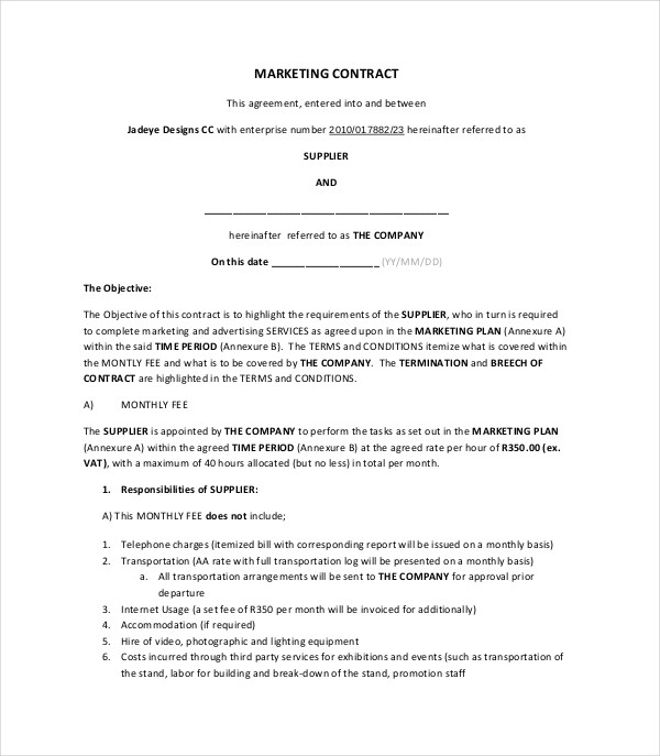 8+ Marketing Contract Examples - PDF, DOC