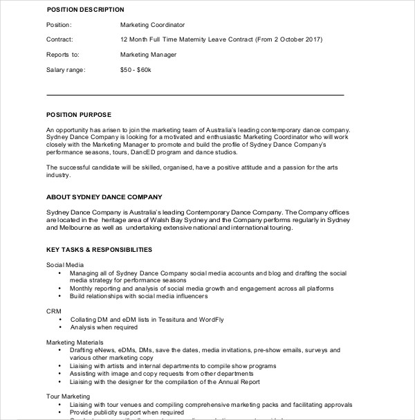 marketing coordinator contract