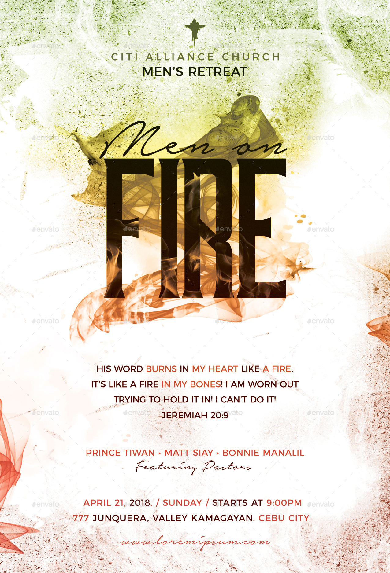 men on fire church flyer
