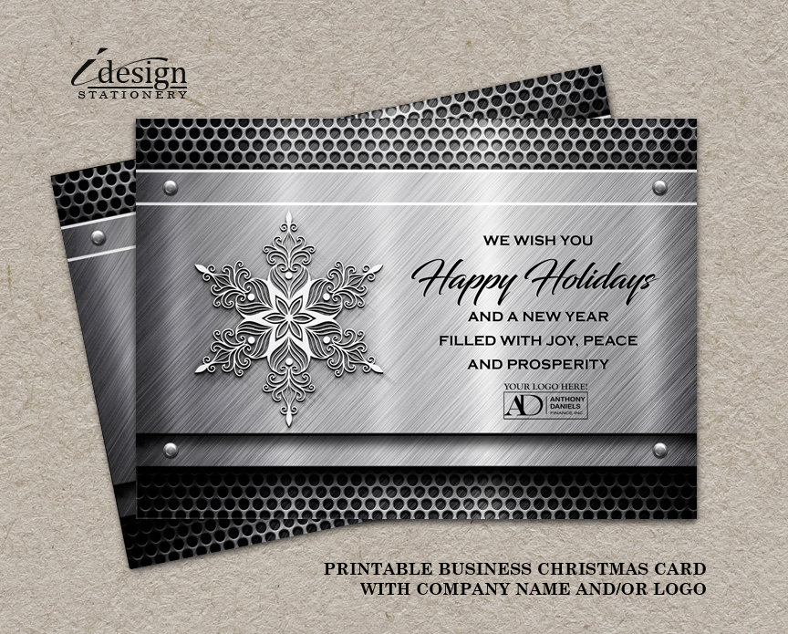 metal business holiday greeting card