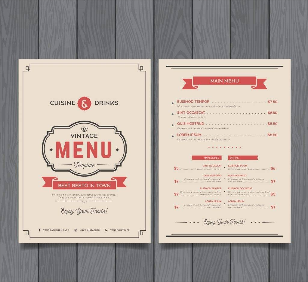 modern menu template free vector