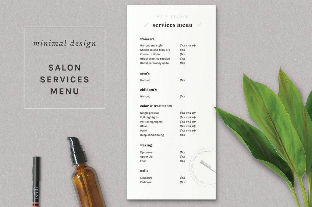 17 salon menu designs and examples psd al for Price list brochure template