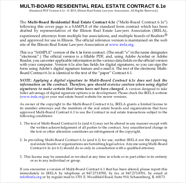 multi board residential contract