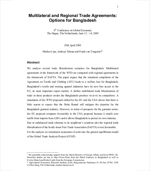 multilateral regional trade agreements