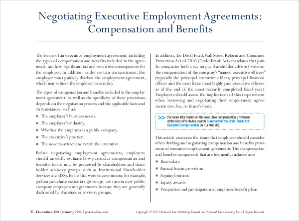 negotiating executive employment agreements