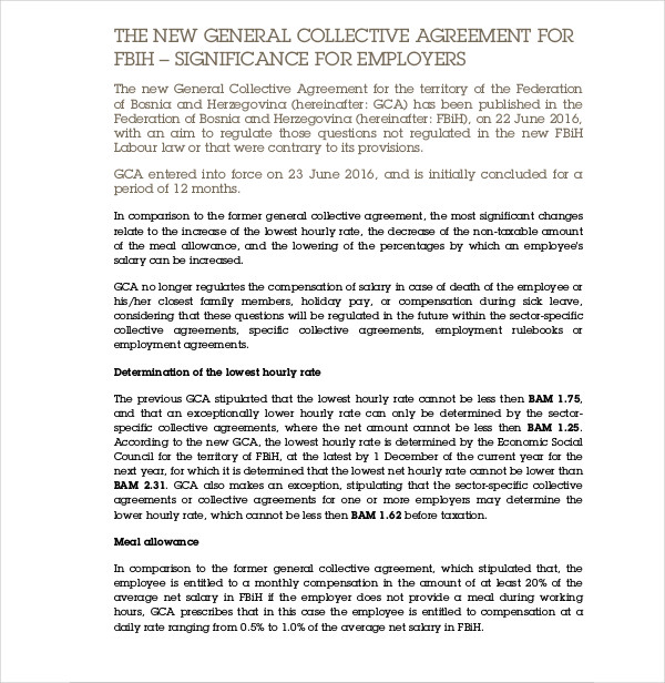 new collective agreement