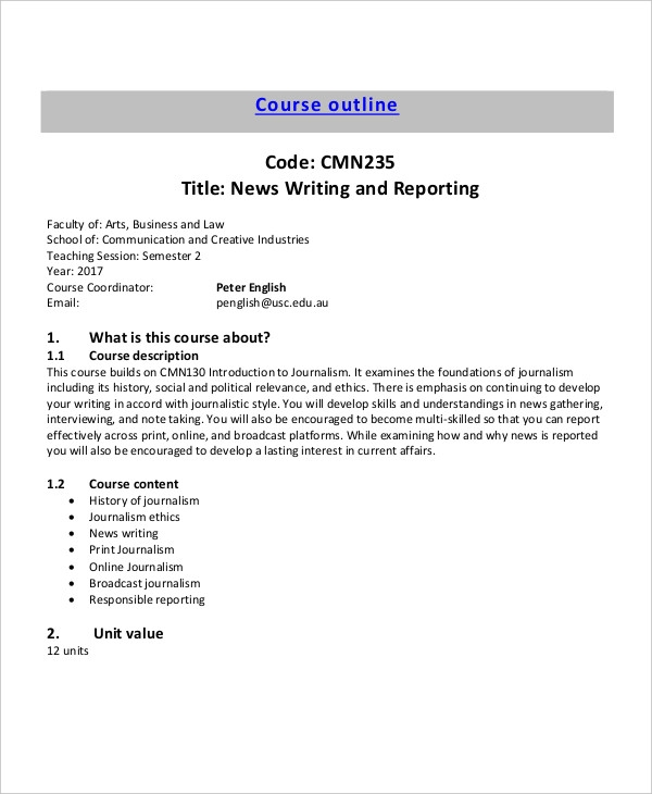 news writing outline example1