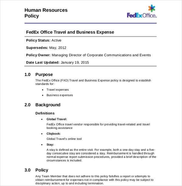7+ Travel Expense Policy Examples - PDF, Word