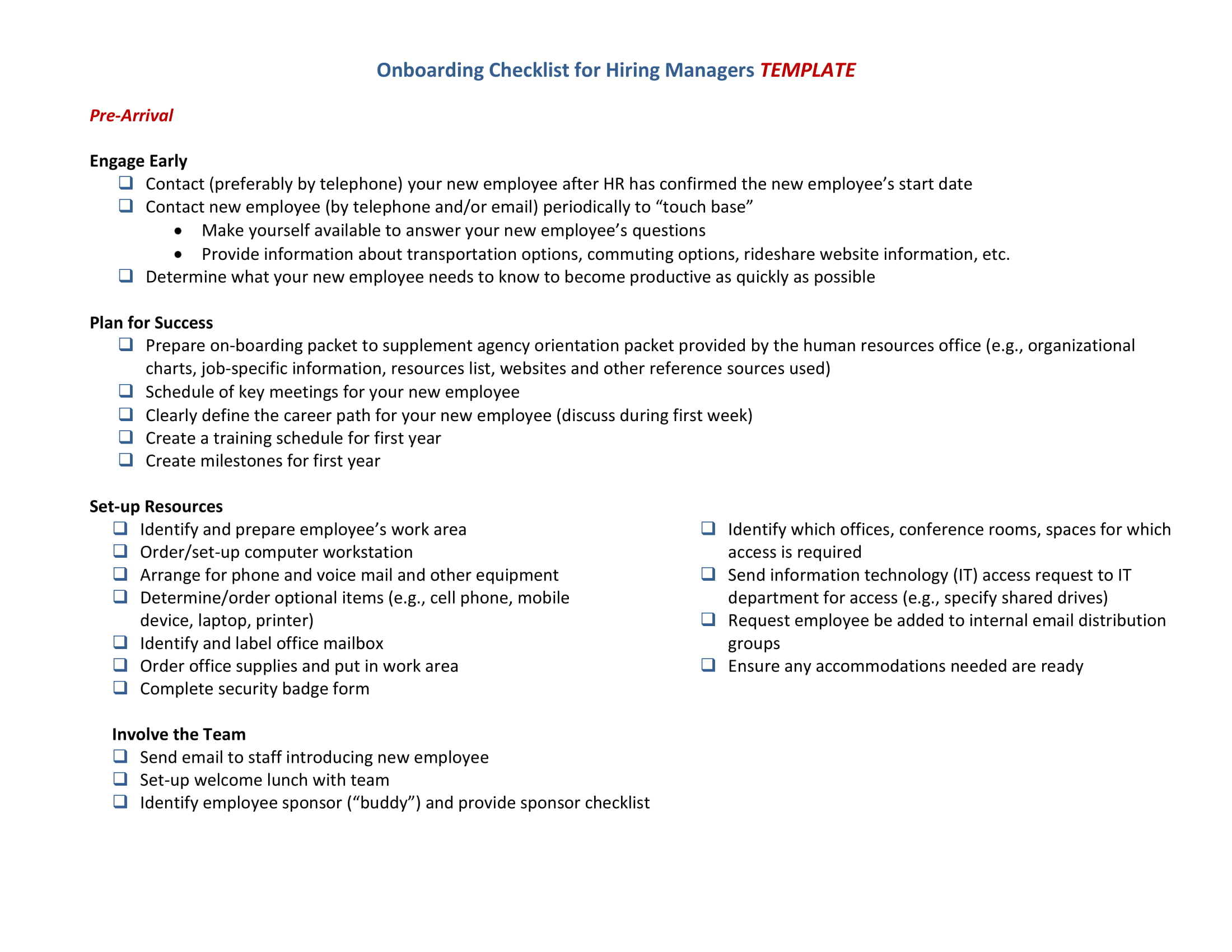 onboarding checklist for hiring managers template 2