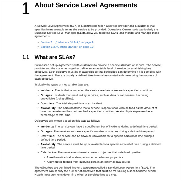 operations center service level agreement