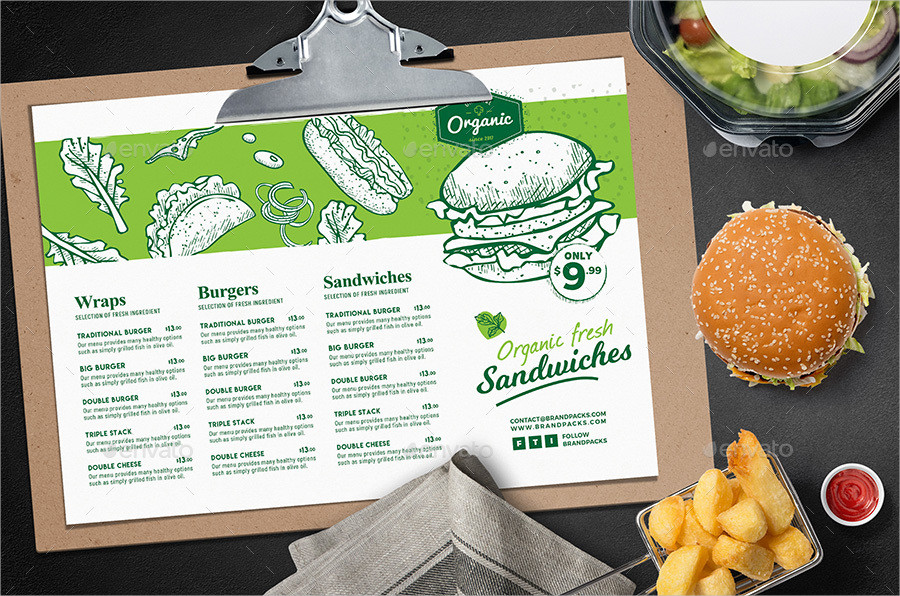 organic burger menu template