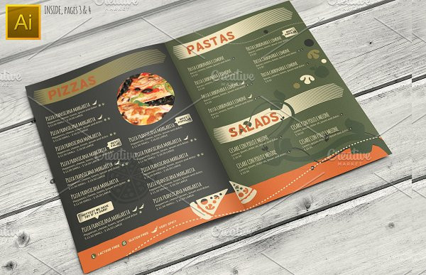 pasta and pizza restaurant menu