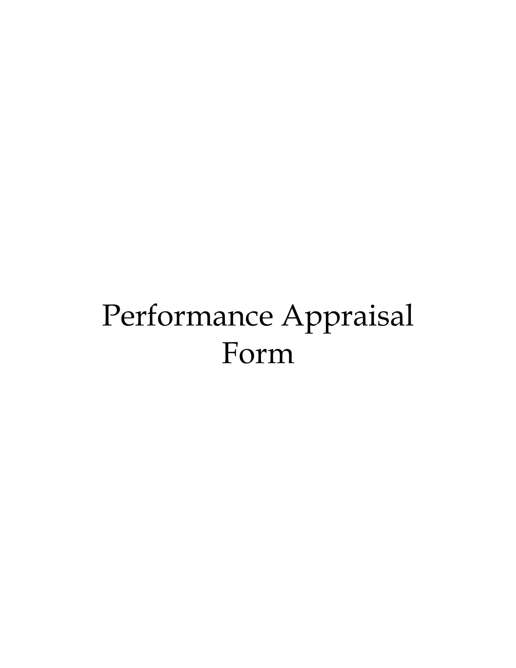performance appraisal form 1