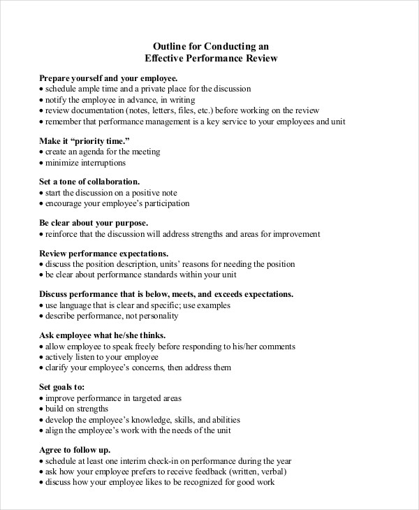 performance review outline