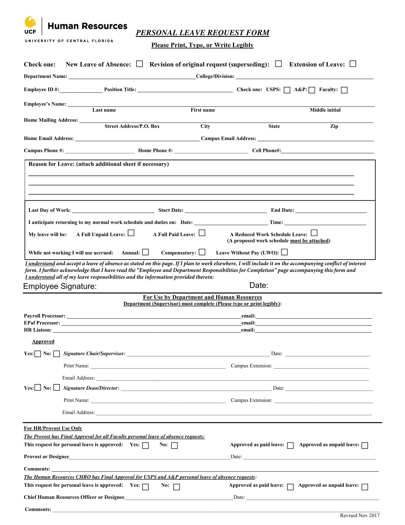 Personal Leave Request Form Example