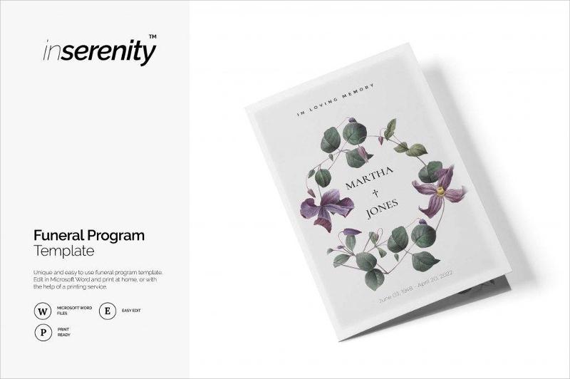 plain funeral program and flyer