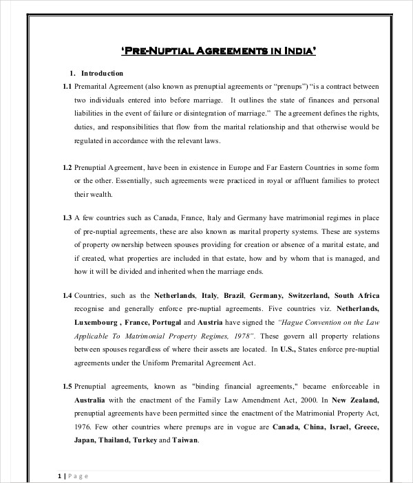 prenuptial agreements printable
