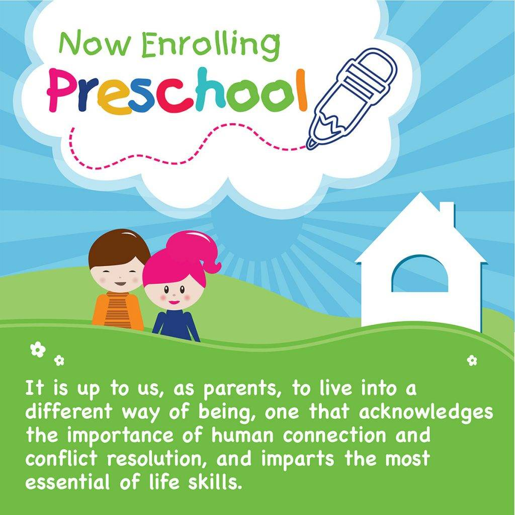 preschool enrollment flyer poster design