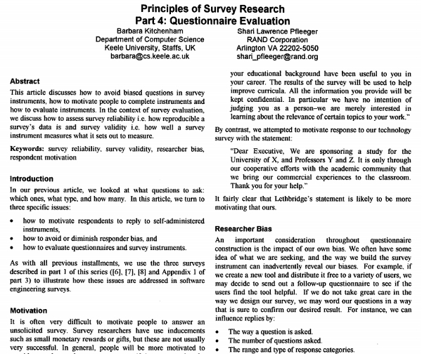 principles of survey research