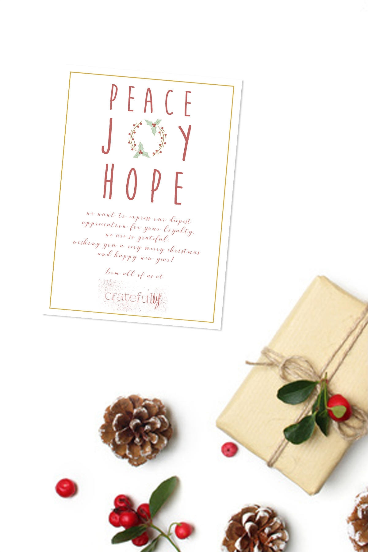 printable corporate holiday greeting card